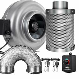 iPower 4/6/8 Inch Inline Fan Carbon Filter Ducting Combo w/