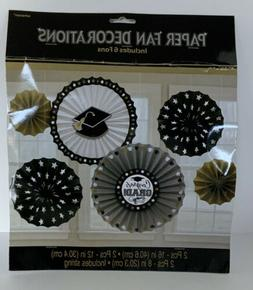 Amscan Grad Paper Fan Decorations Black Silver and Gold One