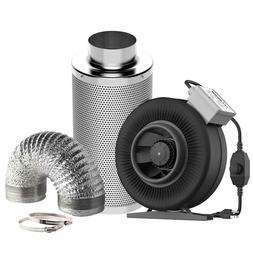 Inline Fan with Speed Controller, 6 Inch Carbon Filter and 8