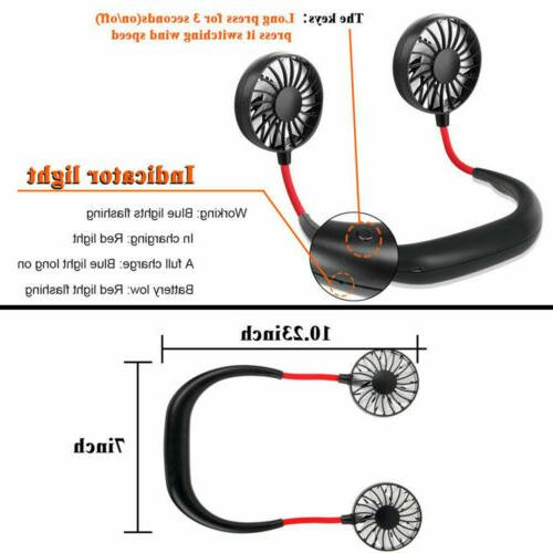 Portable USB Rechargeable Dual Mini Fan Lazy Neck Hanging Style