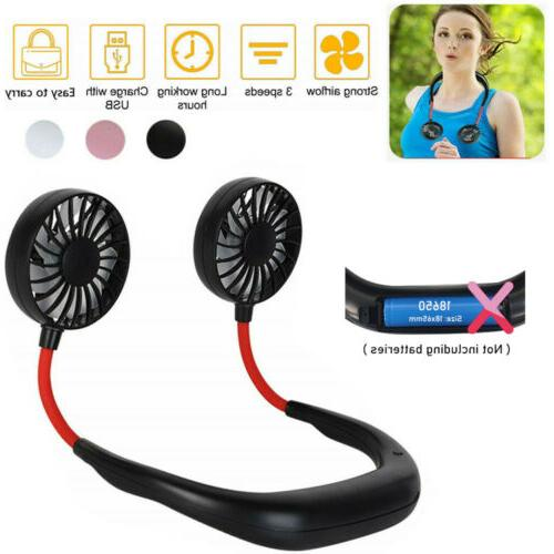 portable usb rechargeable neckband dual cooling mini