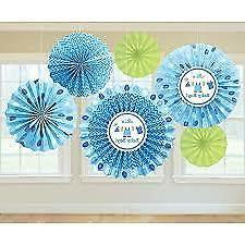 Shower With Love Baby Boy Fan Decorations