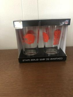 NFL CLEVELAND BROWN TWO   16 OZ GLASS  PINTS GIFT SET GLASSE