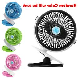 USB Rechargeable Mini Cooling Fan Clip Desk Baby Stroller Po