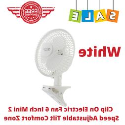 White, Clip On Electric Fan 6 Inch Mini 2 Speed Adjustable T